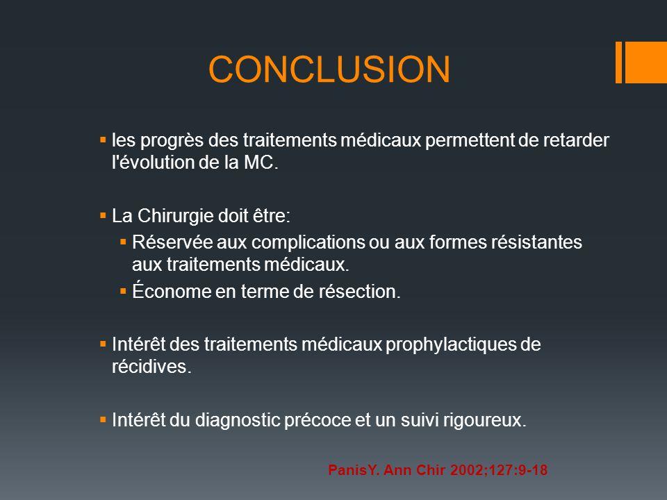 CONCLUSION les progrès des traitements médicaux permettent de retarder l évolution de la MC. La Chirurgie doit être: