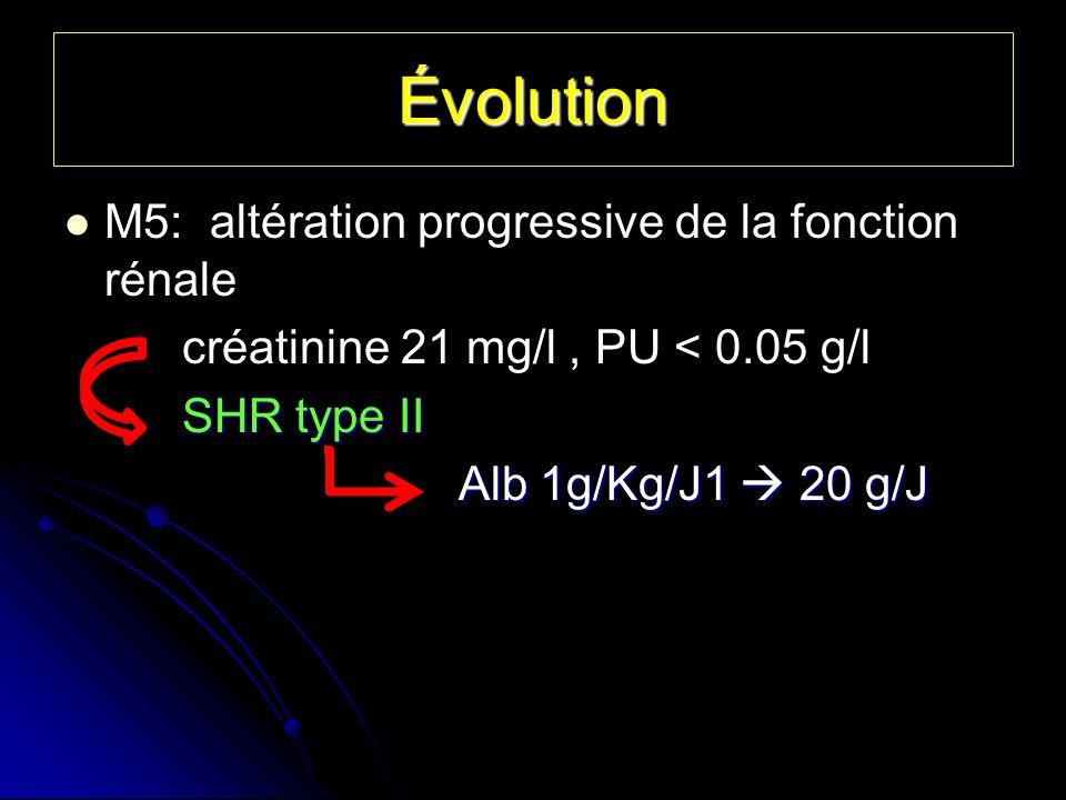 Évolution M5: altération progressive de la fonction rénale