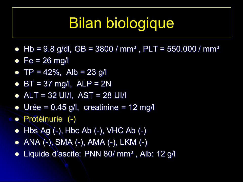 Bilan biologique Hb = 9.8 g/dl, GB = 3800 / mm³ , PLT = 550.000 / mm³
