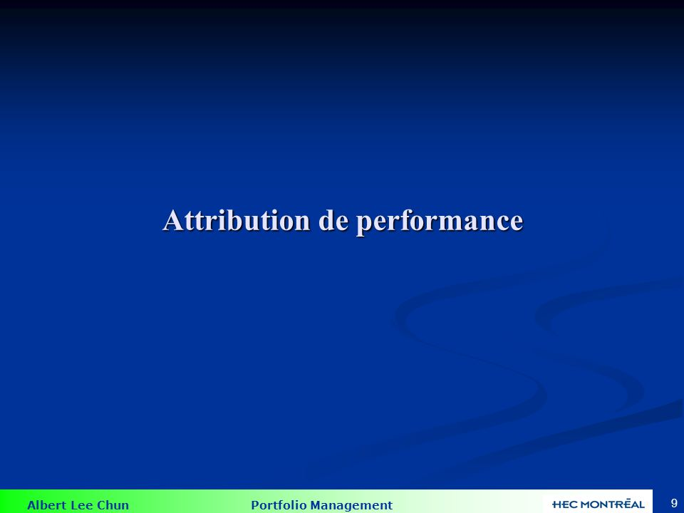 Technique d'attribution de la performance de l'époque