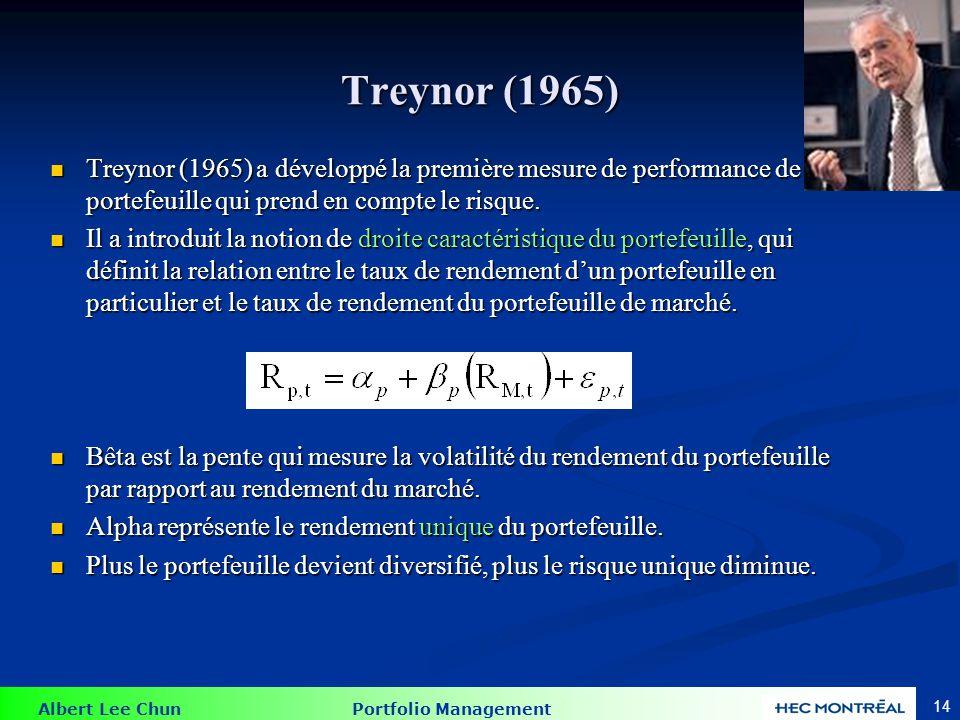 L'indice de Treynor L'indice de Treynor divise le rendement excédentaire d'un portefeuille par le risque systématique du portefeuille (bêta).
