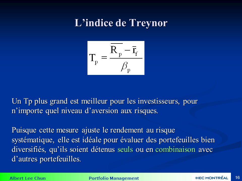 L'indice de Treynor