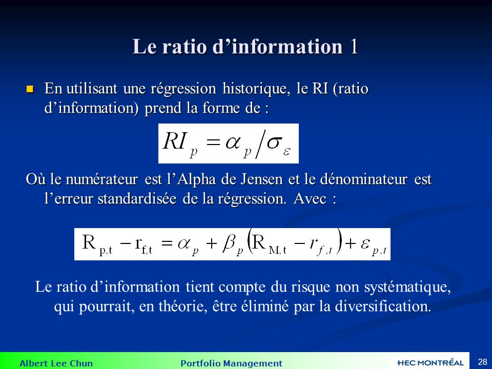 Le ratio d'information 2
