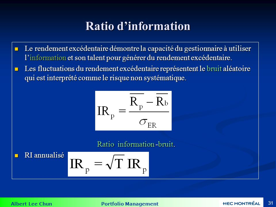Ratio d'information