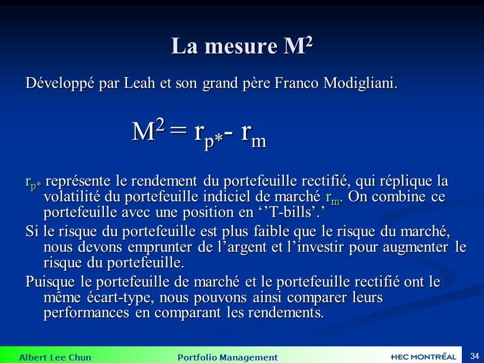La mesure M2 : Exemple Portefeuille géré : Rendement = 35% Écart type = 42% Portefeuille de marché : Rendement = 28% Écart type = 30%