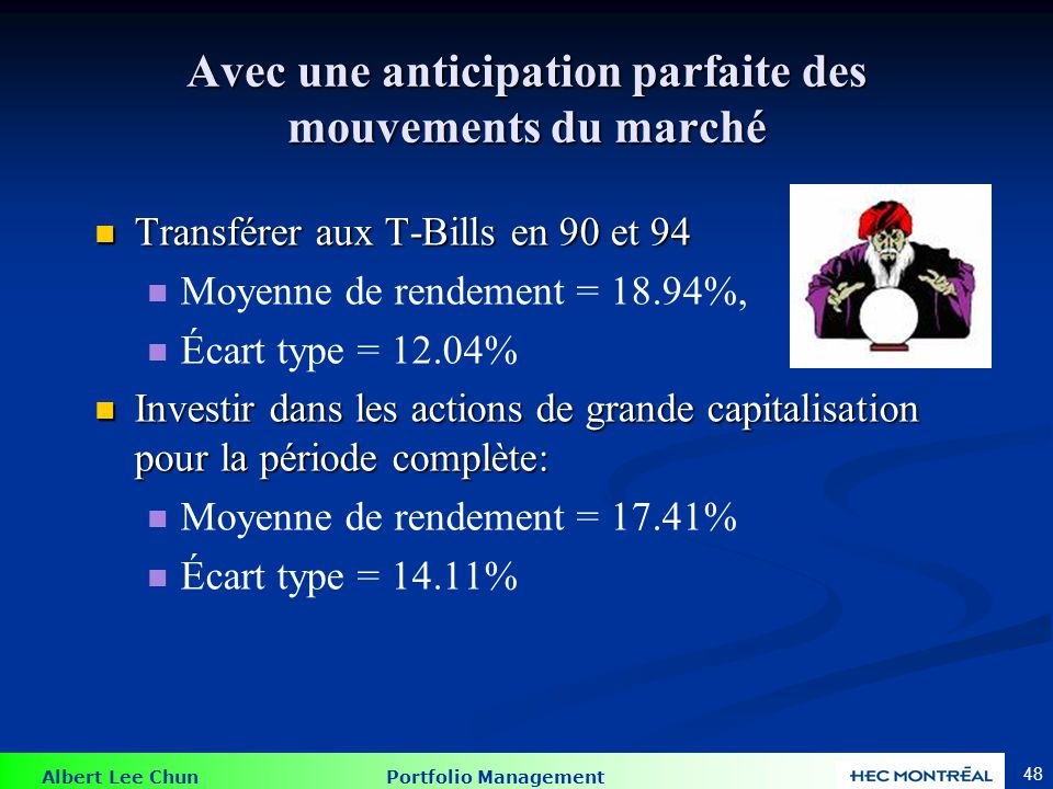 Performance des T-Bills, des actions et des ''Market Timers''