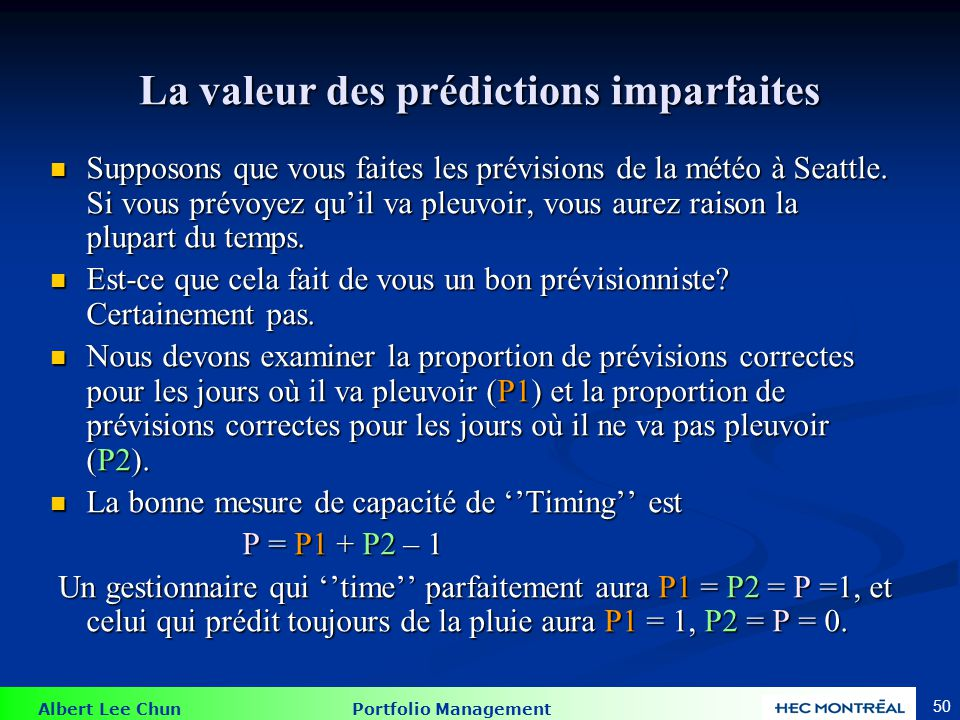 L'identification du ''market timing''