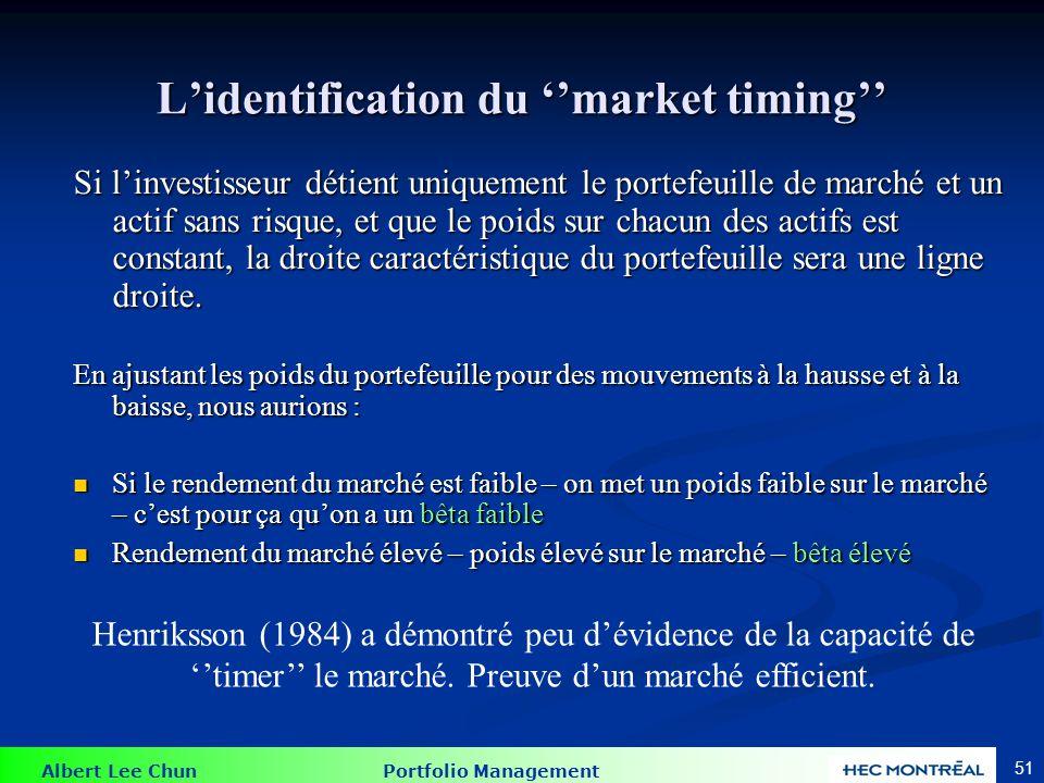 Droite caractéristique : ''Market Timing''