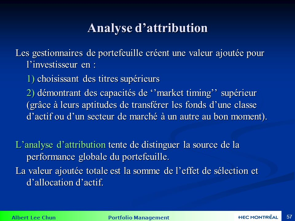 La formule de l'attribution