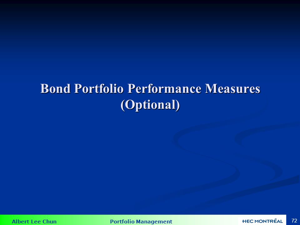 Bond Portfolio Measures