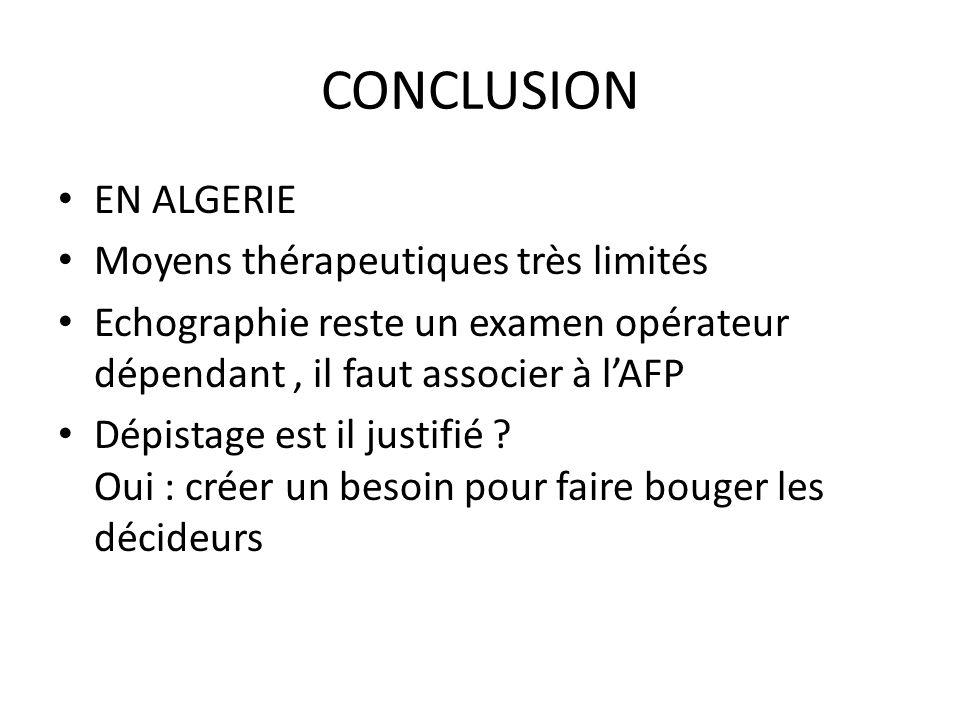 CONCLUSION EN ALGERIE Moyens thérapeutiques très limités