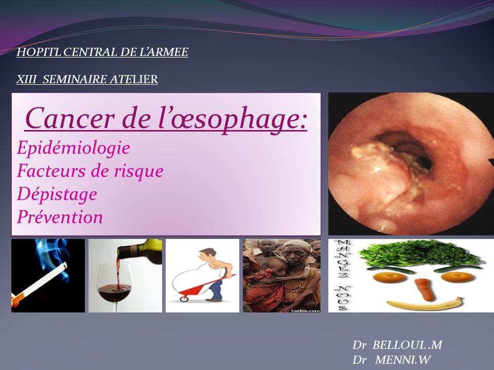 Cancer de l'œsophage: Epidémiologie Facteurs de risque Dépistage