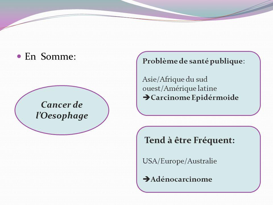 En Somme: Cancer de l'Oesophage Tend à être Fréquent: