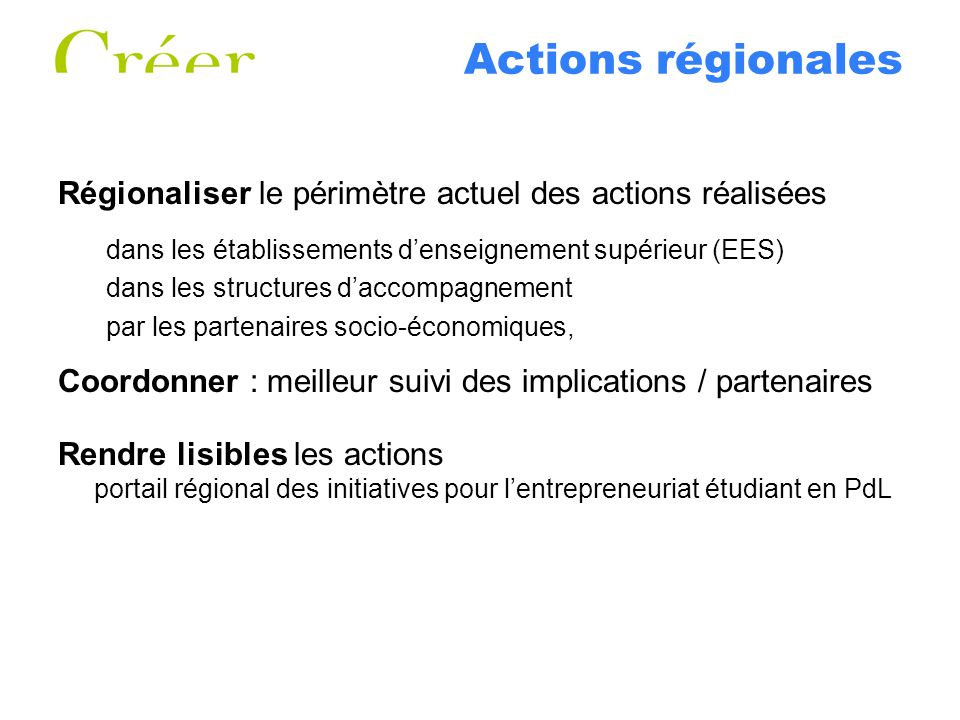 Actions régionales Régionaliser le périmètre actuel des actions réalisées. dans les établissements d'enseignement supérieur (EES)