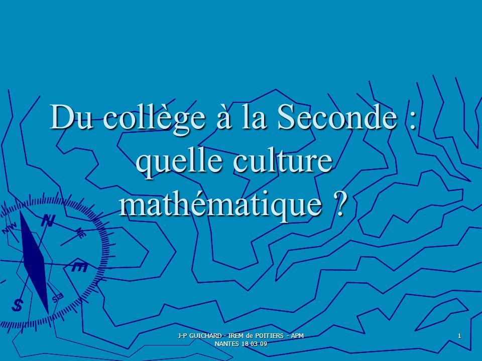 Du collège à la Seconde : quelle culture mathématique