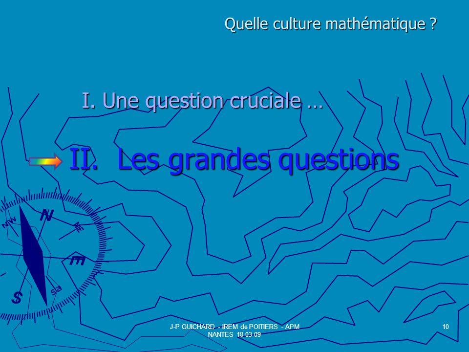 II. Les grandes questions