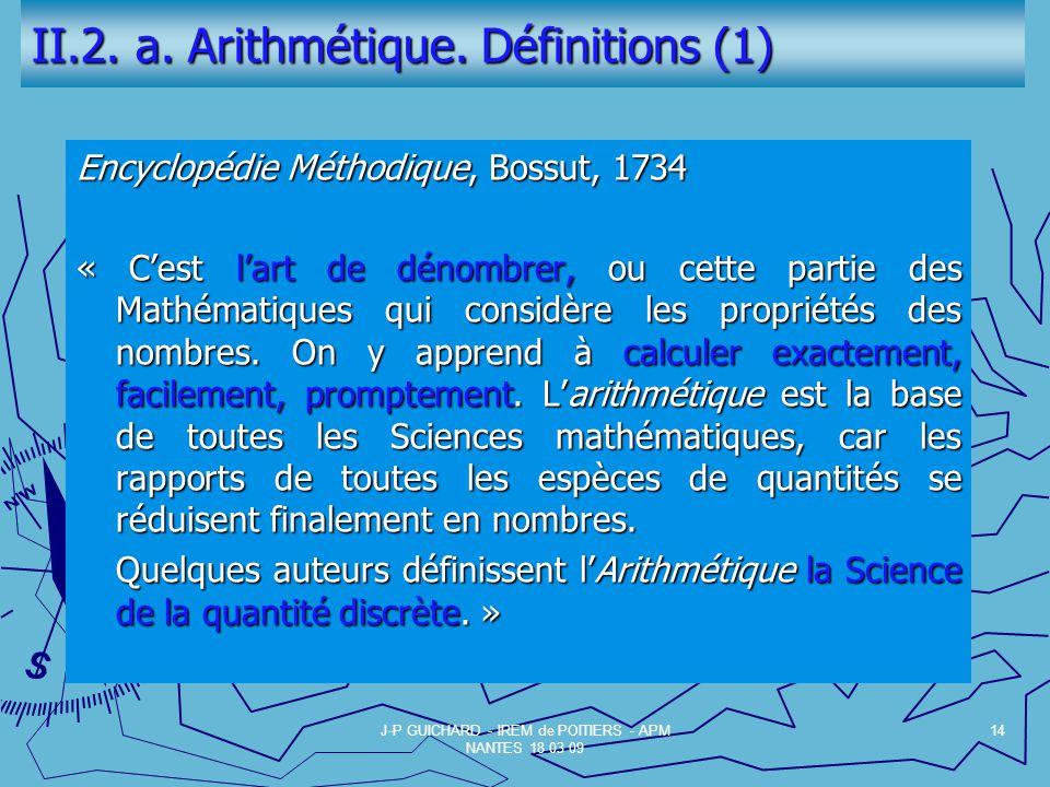 II.2. a. Arithmétique. Définitions (1)