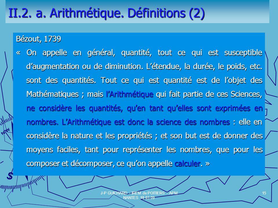 II.2. a. Arithmétique. Définitions (2)