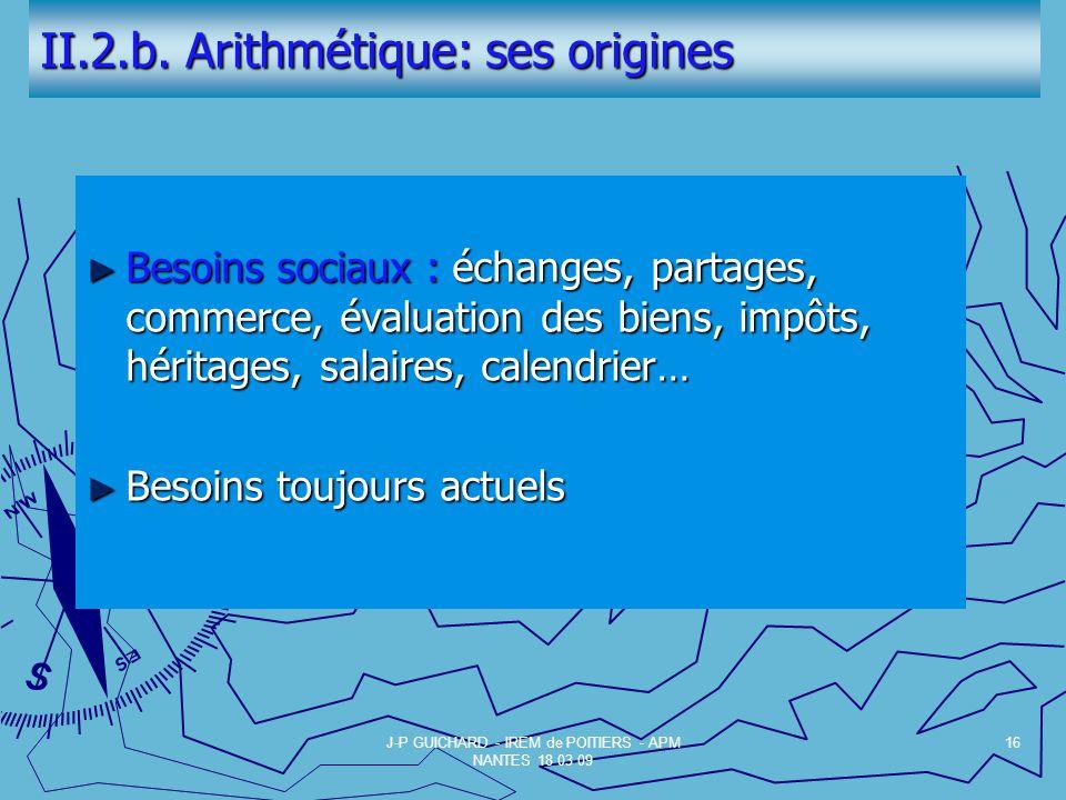II.2.b. Arithmétique: ses origines