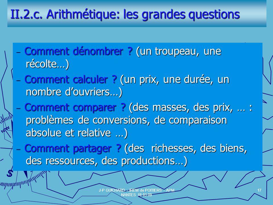 II.2.c. Arithmétique: les grandes questions