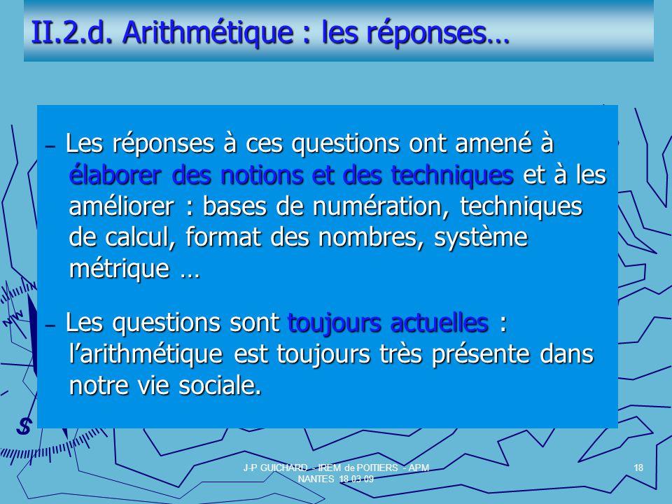 II.2.d. Arithmétique : les réponses…