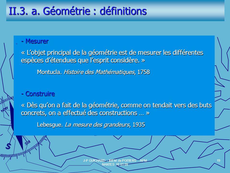 II.3. a. Géométrie : définitions