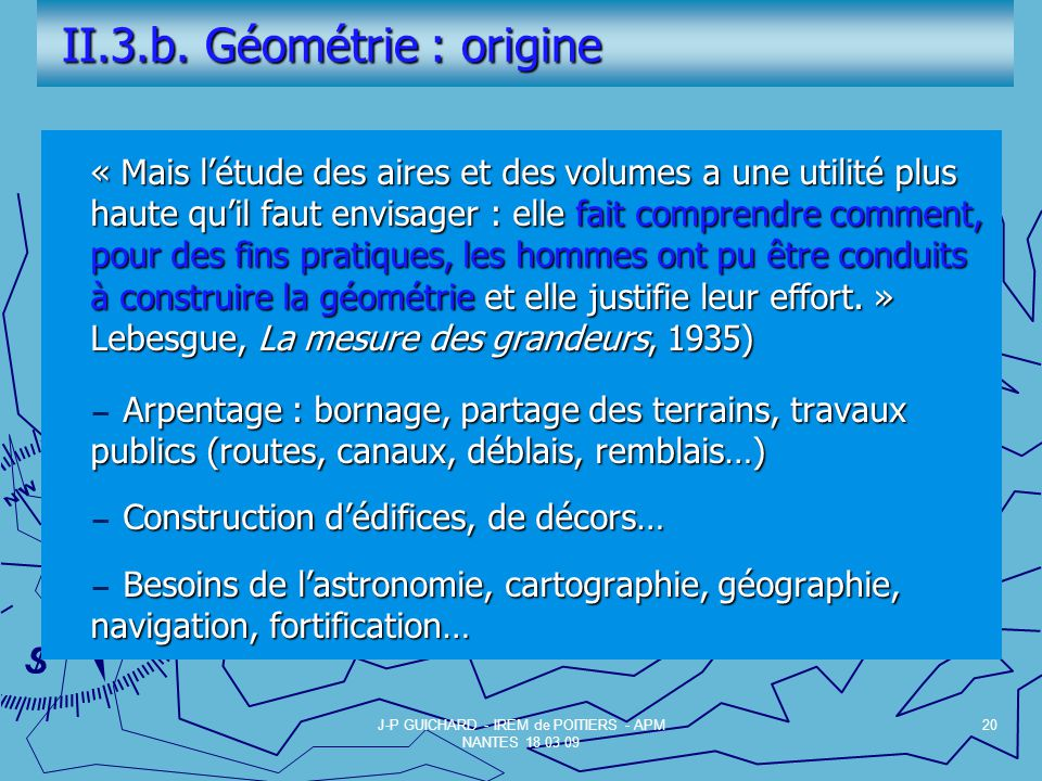 II.3.b. Géométrie : origine
