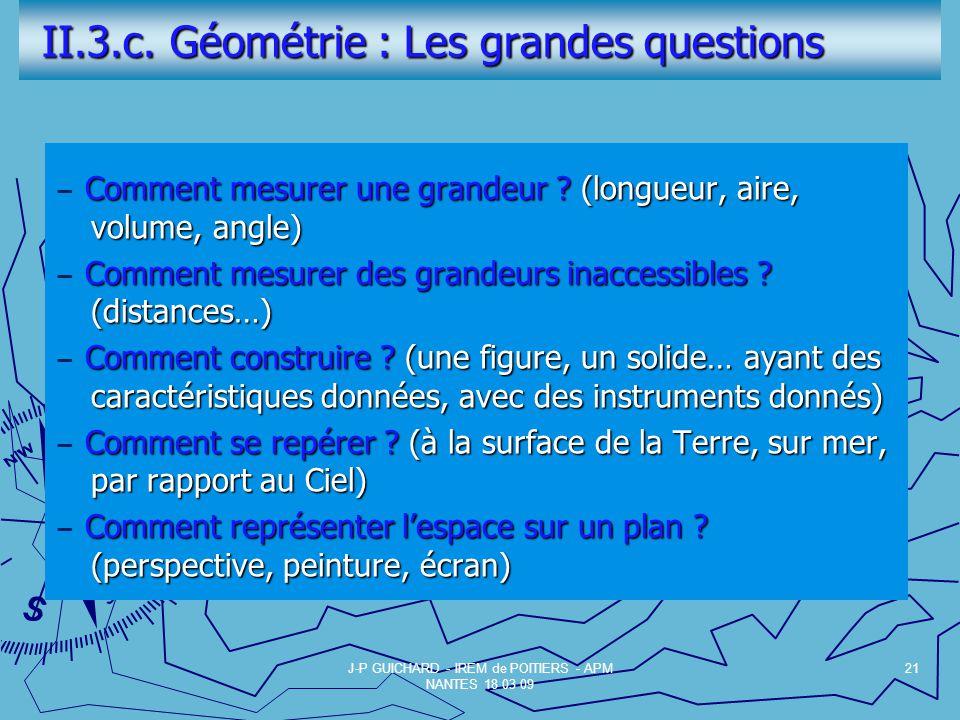 II.3.c. Géométrie : Les grandes questions