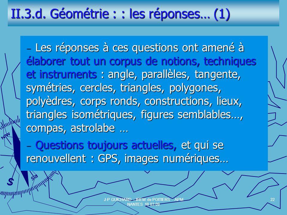 II.3.d. Géométrie : : les réponses… (1)