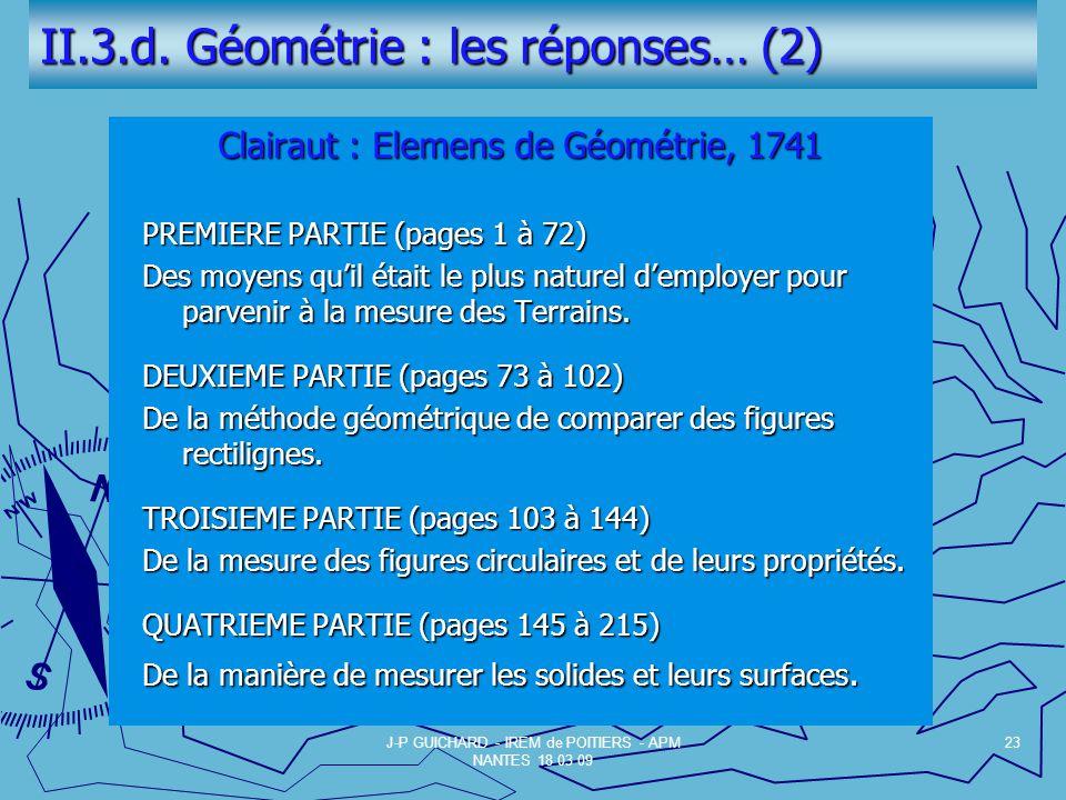 II.3.d. Géométrie : les réponses… (2)