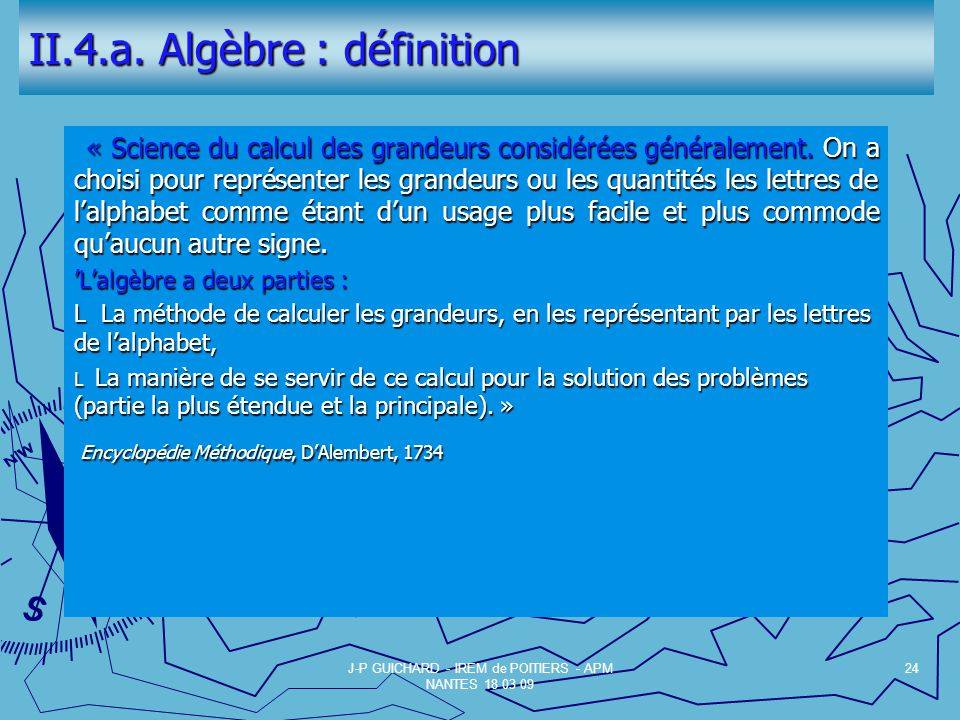II.4.a. Algèbre : définition