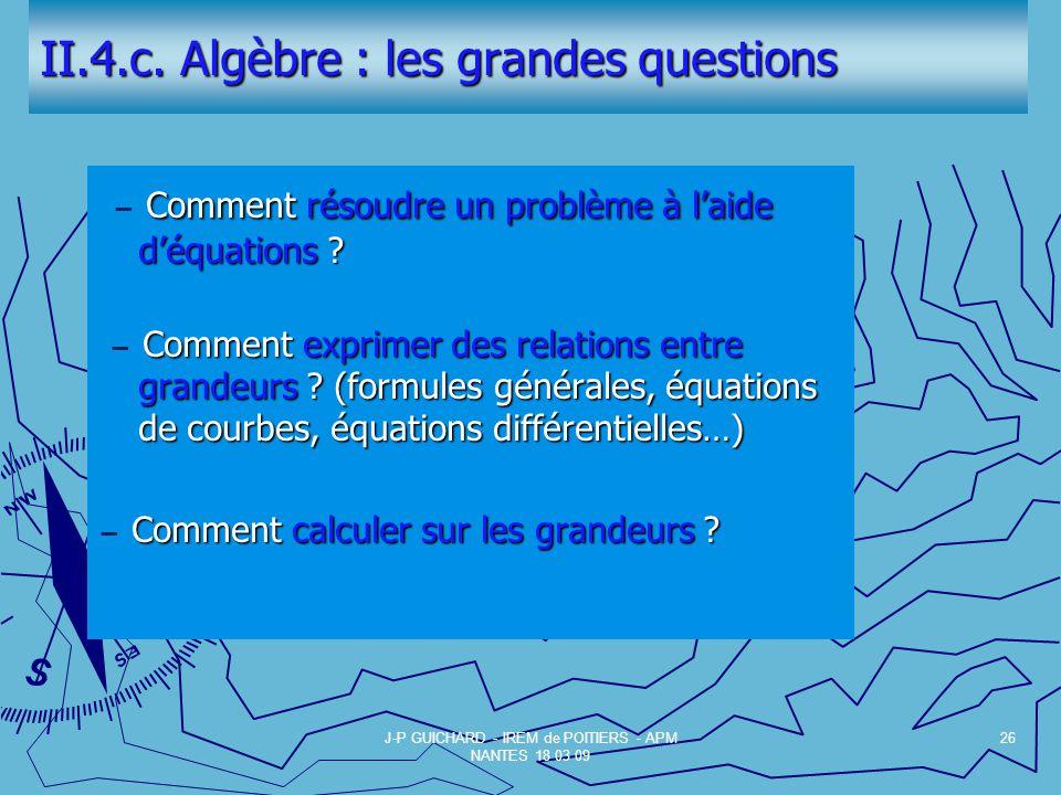 II.4.c. Algèbre : les grandes questions