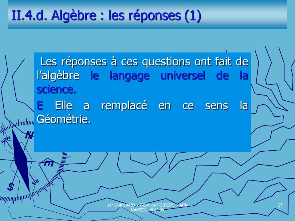 II.4.d. Algèbre : les réponses (1)