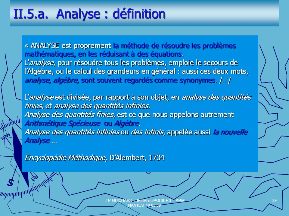 II.5.a. Analyse : définition