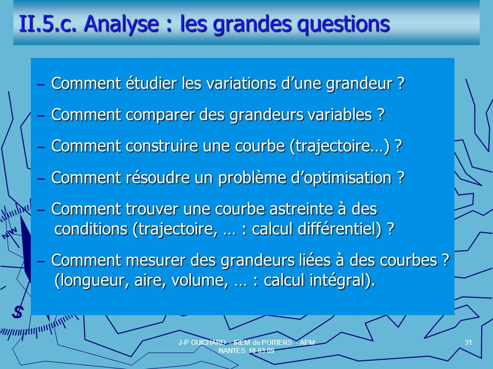 II.5.c. Analyse : les grandes questions