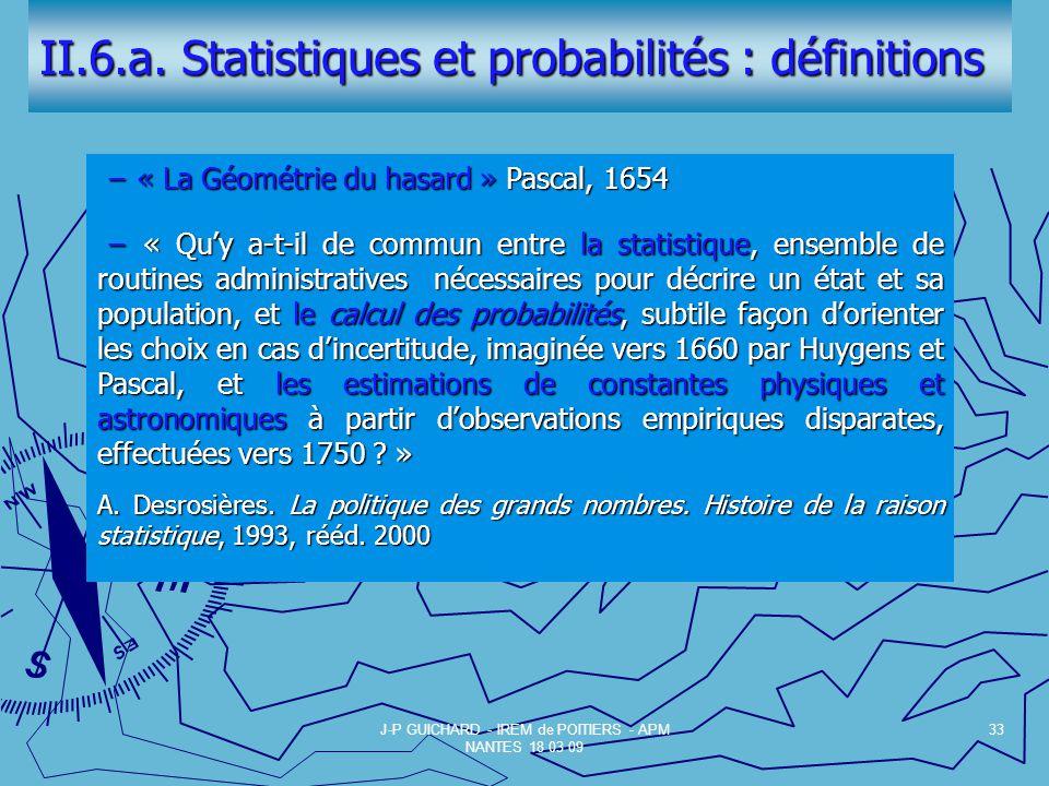 II.6.a. Statistiques et probabilités : définitions
