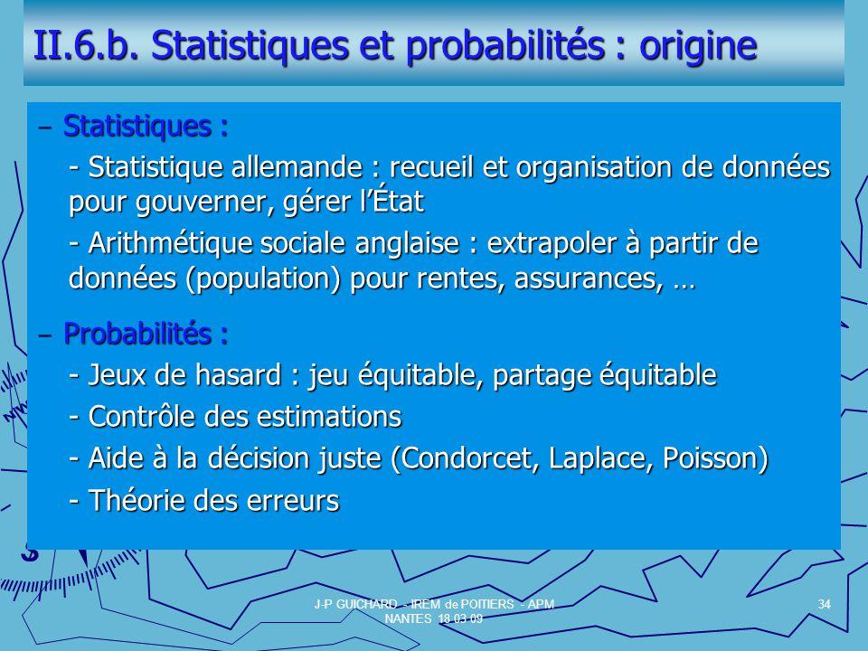 II.6.b. Statistiques et probabilités : origine