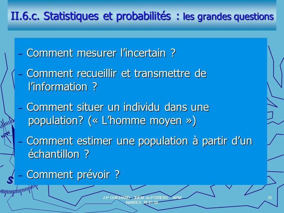 II.6.c. Statistiques et probabilités : les grandes questions
