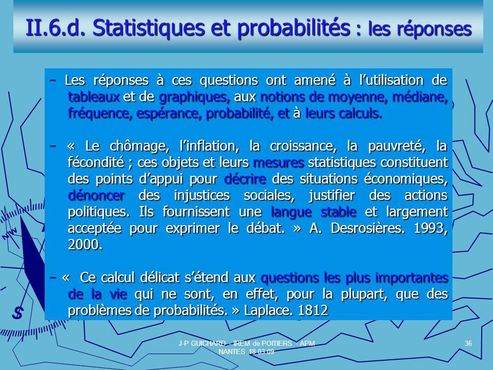 II.6.d. Statistiques et probabilités : les réponses