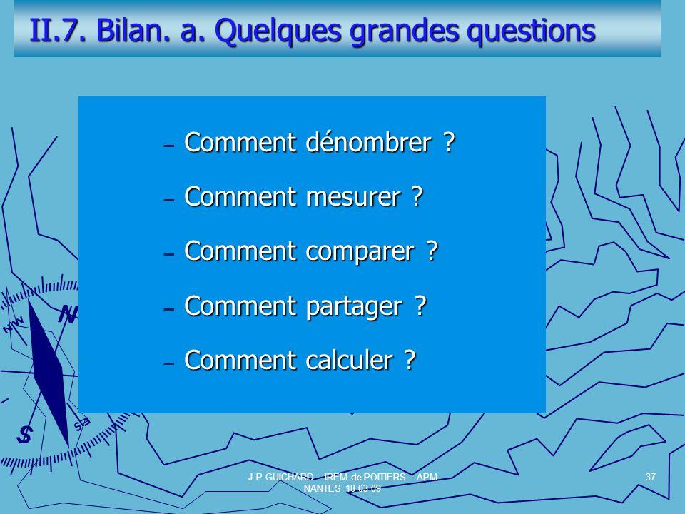 II.7. Bilan. a. Quelques grandes questions