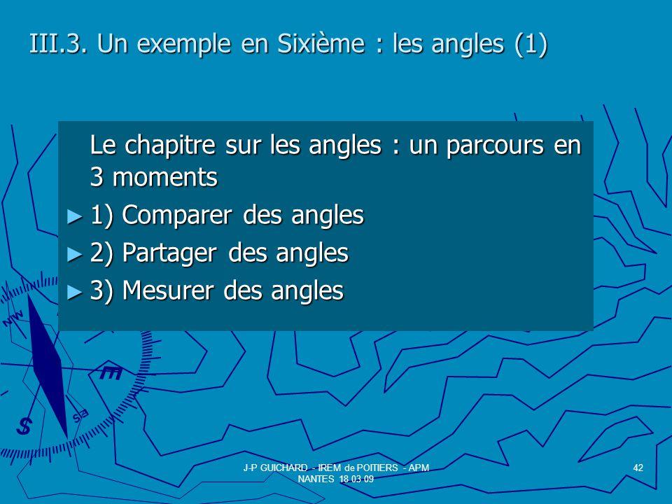III.3. Un exemple en Sixième : les angles (1)