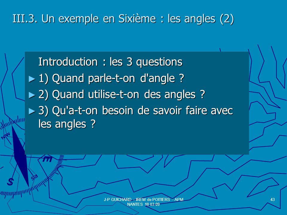 III.3. Un exemple en Sixième : les angles (2)