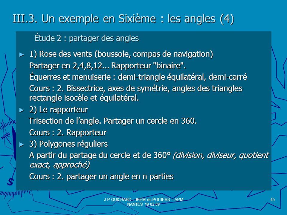 III.3. Un exemple en Sixième : les angles (4)