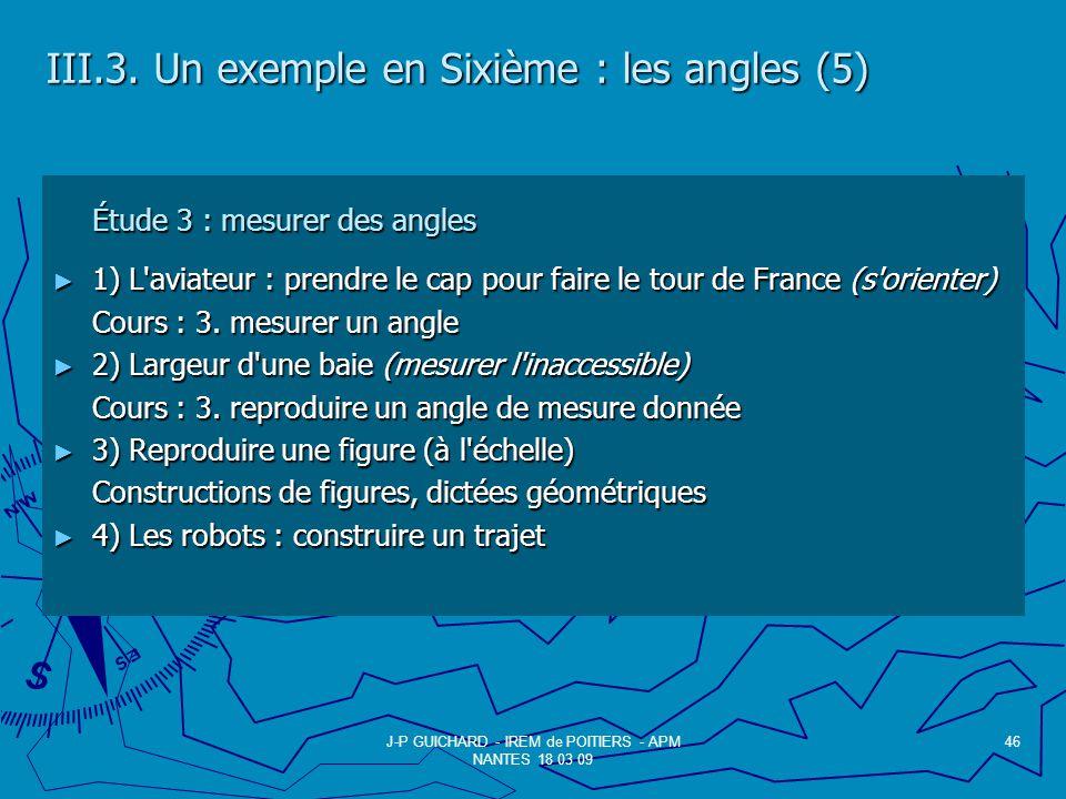 III.3. Un exemple en Sixième : les angles (5)