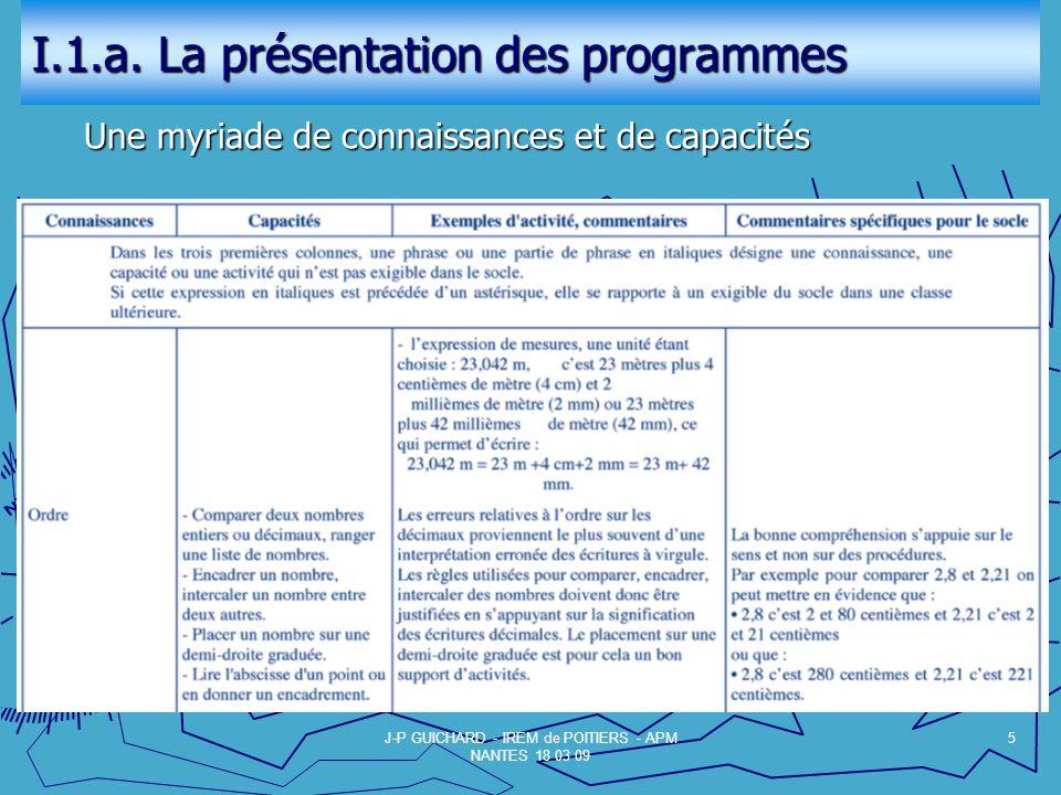 I.1.a. La présentation des programmes