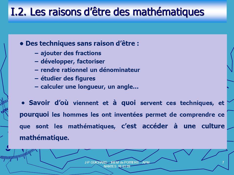 I.2. Les raisons d'être des mathématiques