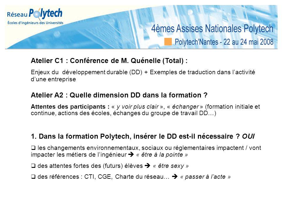Atelier C1 : Conférence de M. Quénelle (Total) :