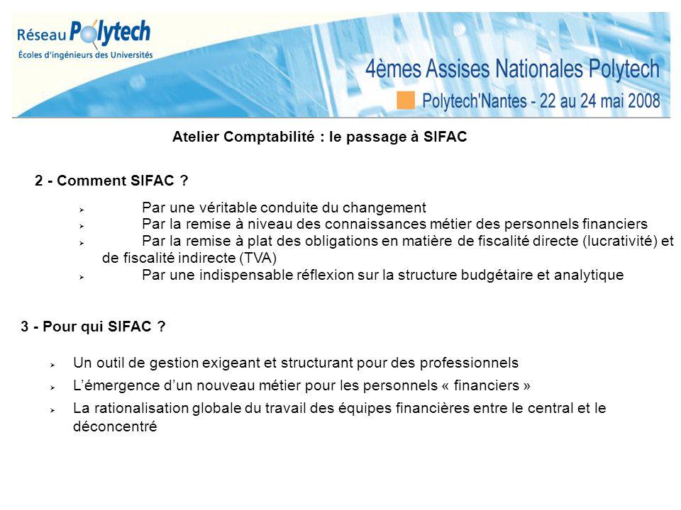 Atelier Comptabilité : le passage à SIFAC
