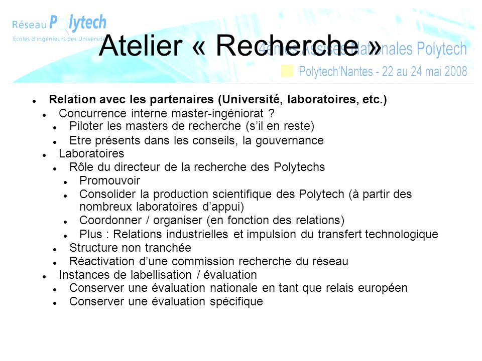 Atelier « Recherche » Relation avec les partenaires (Université, laboratoires, etc.) Concurrence interne master-ingéniorat