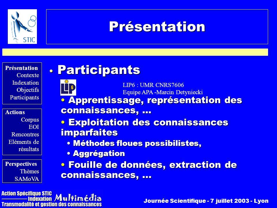 Présentation Participants